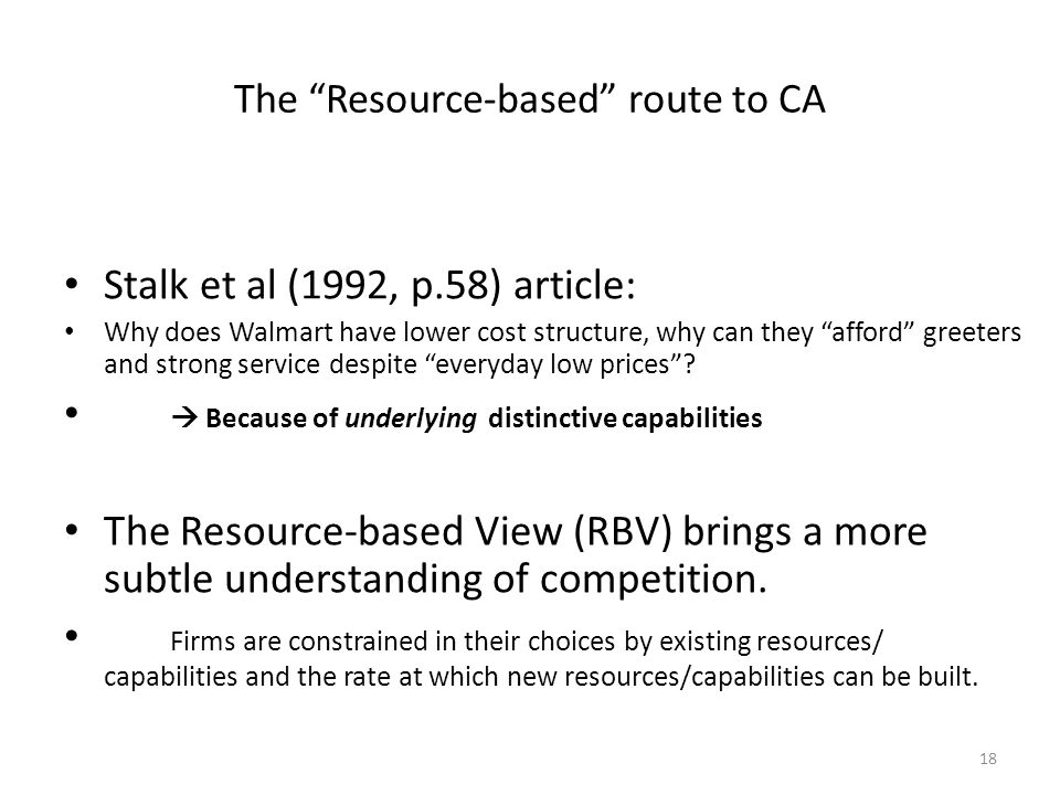 The Resource-based route to CA