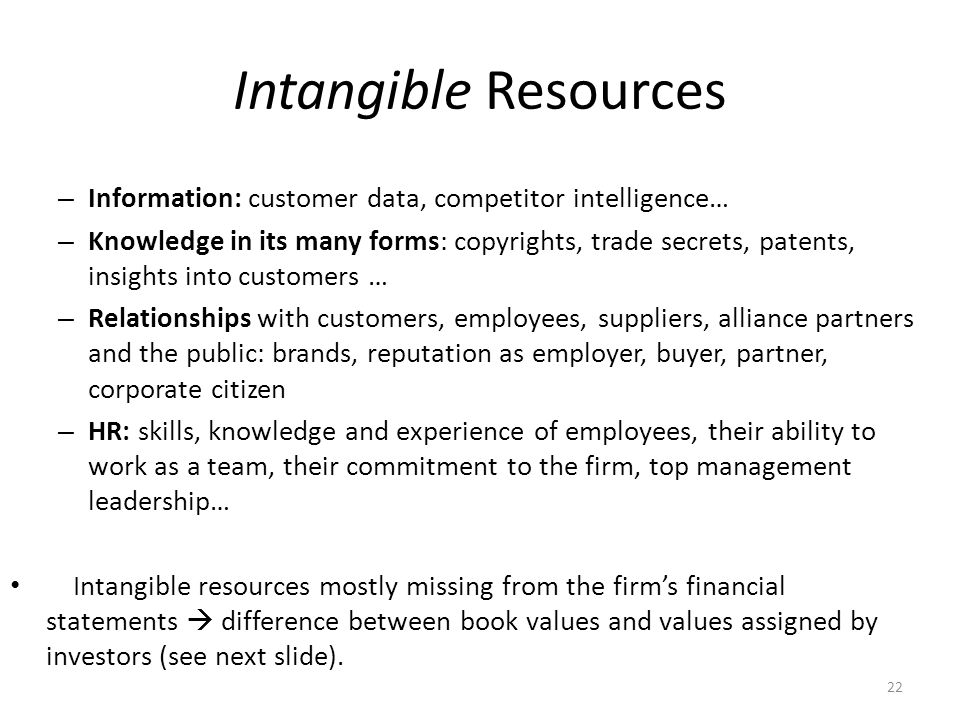 What is Strategy Intangible Resources. Information: customer data, competitor intelligence…