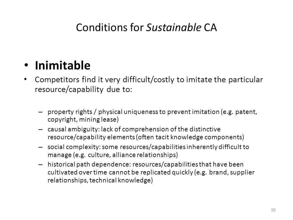 Conditions for Sustainable CA