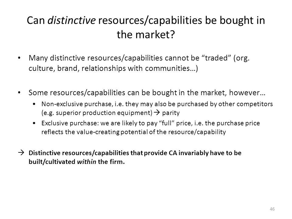 Can distinctive resources/capabilities be bought in the market
