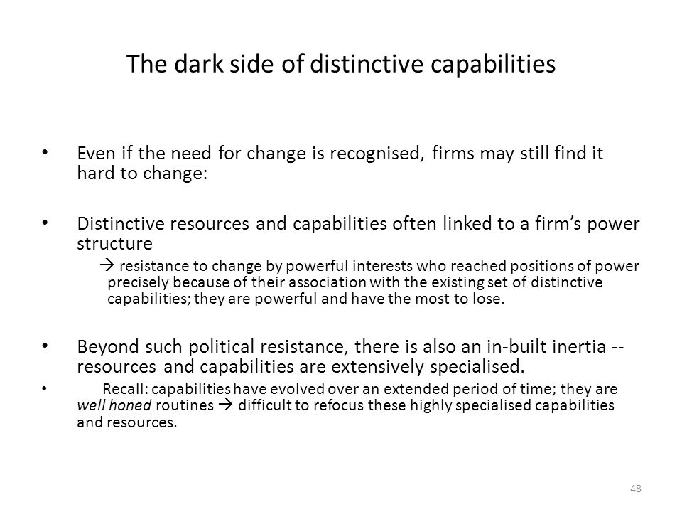 The dark side of distinctive capabilities