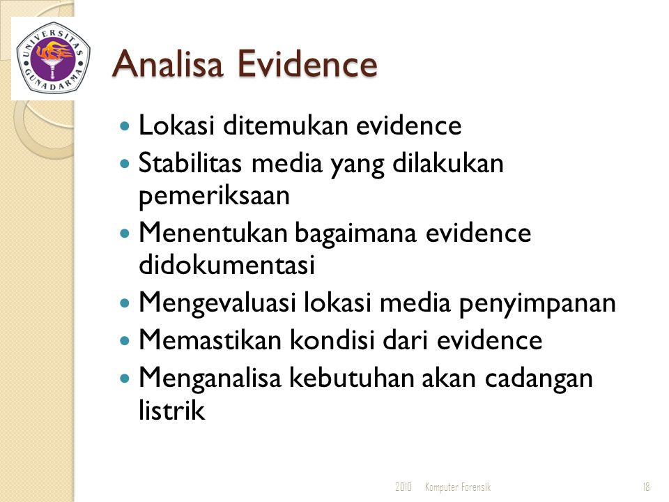 Analisa Evidence Lokasi ditemukan evidence