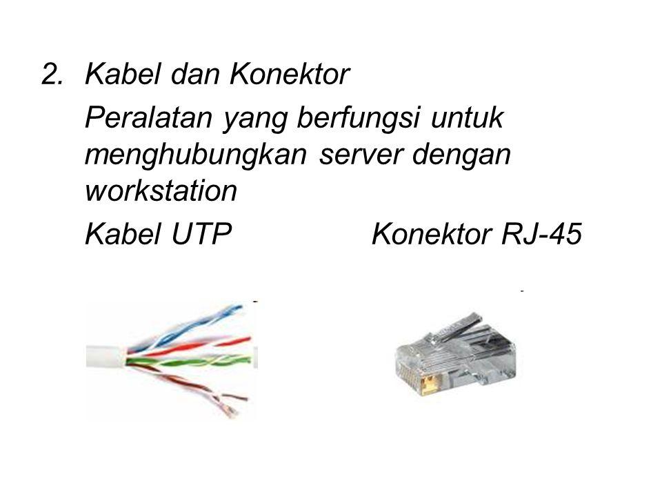 Kabel dan Konektor Peralatan yang berfungsi untuk menghubungkan server dengan workstation.