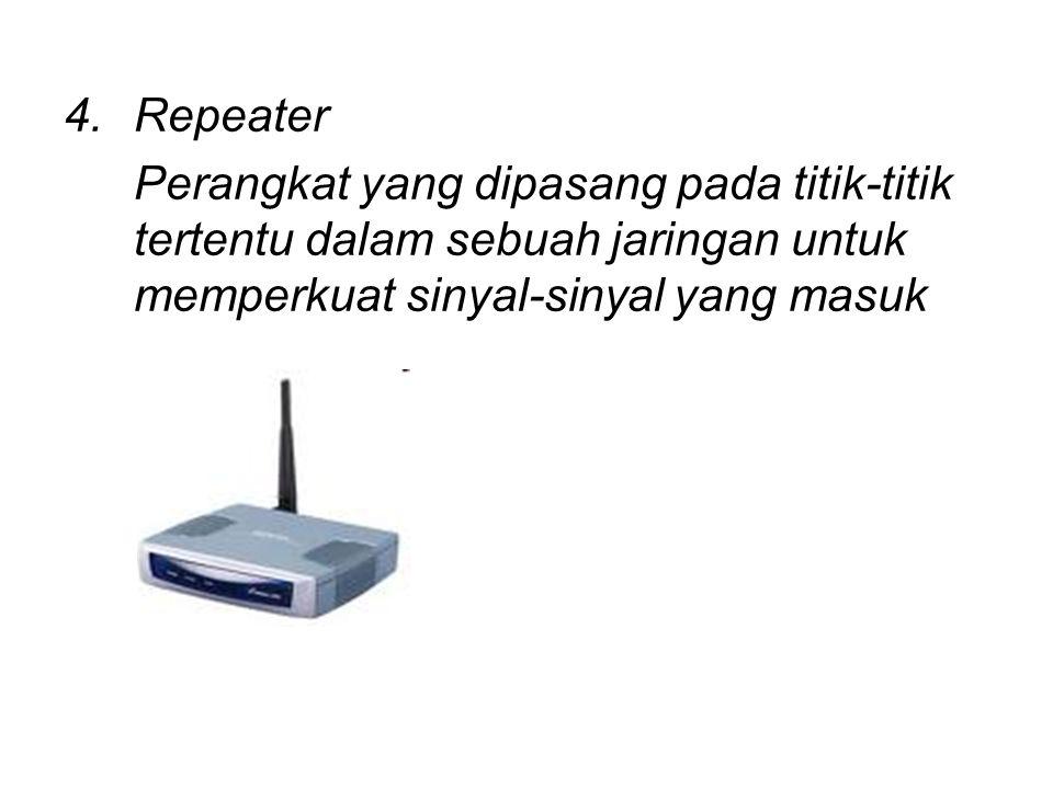 Repeater Perangkat yang dipasang pada titik-titik tertentu dalam sebuah jaringan untuk memperkuat sinyal-sinyal yang masuk.