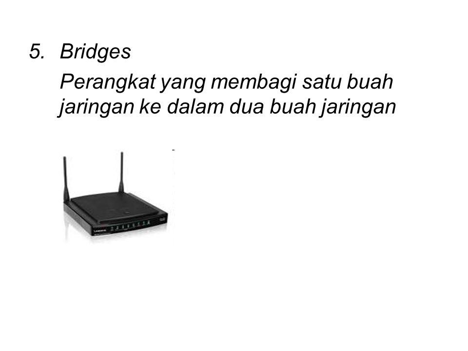 Bridges Perangkat yang membagi satu buah jaringan ke dalam dua buah jaringan
