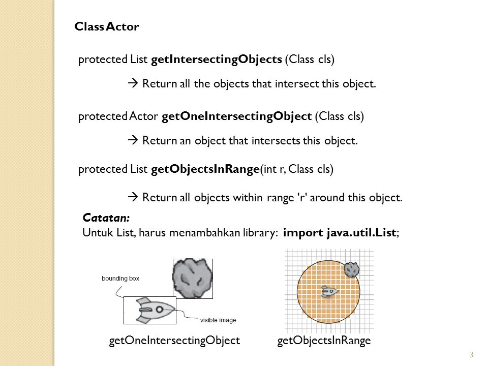 Class Actor protected List getIntersectingObjects (Class cls)  Return all the objects that intersect this object.
