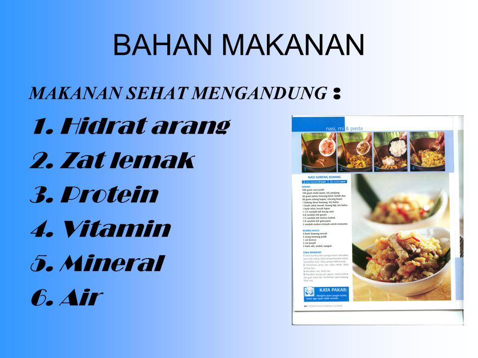 BAHAN MAKANAN Hidrat arang Zat lemak Protein Vitamin Mineral Air