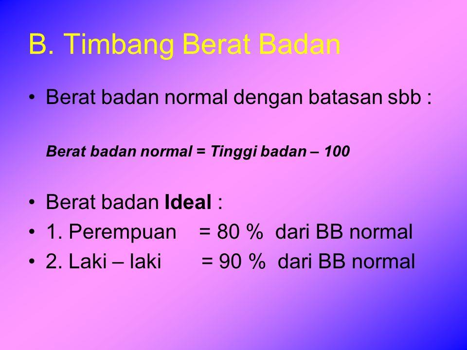 B. Timbang Berat Badan Berat badan normal dengan batasan sbb :