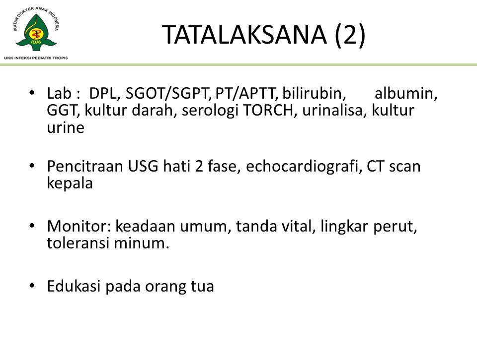 TATALAKSANA (2) Lab : DPL, SGOT/SGPT, PT/APTT, bilirubin, albumin, GGT, kultur darah, serologi TORCH, urinalisa, kultur urine.
