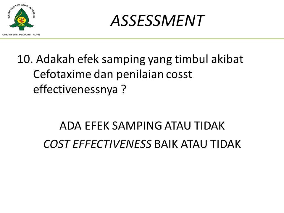 ASSESSMENT Adakah efek samping yang timbul akibat Cefotaxime dan penilaian cosst effectivenessnya