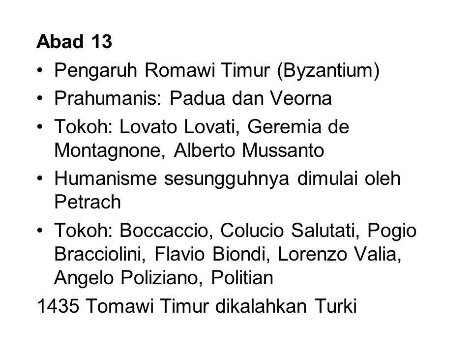 Abad 13 Pengaruh Romawi Timur (Byzantium) Prahumanis: Padua dan Veorna. Tokoh: Lovato Lovati, Geremia de Montagnone, Alberto Mussanto.