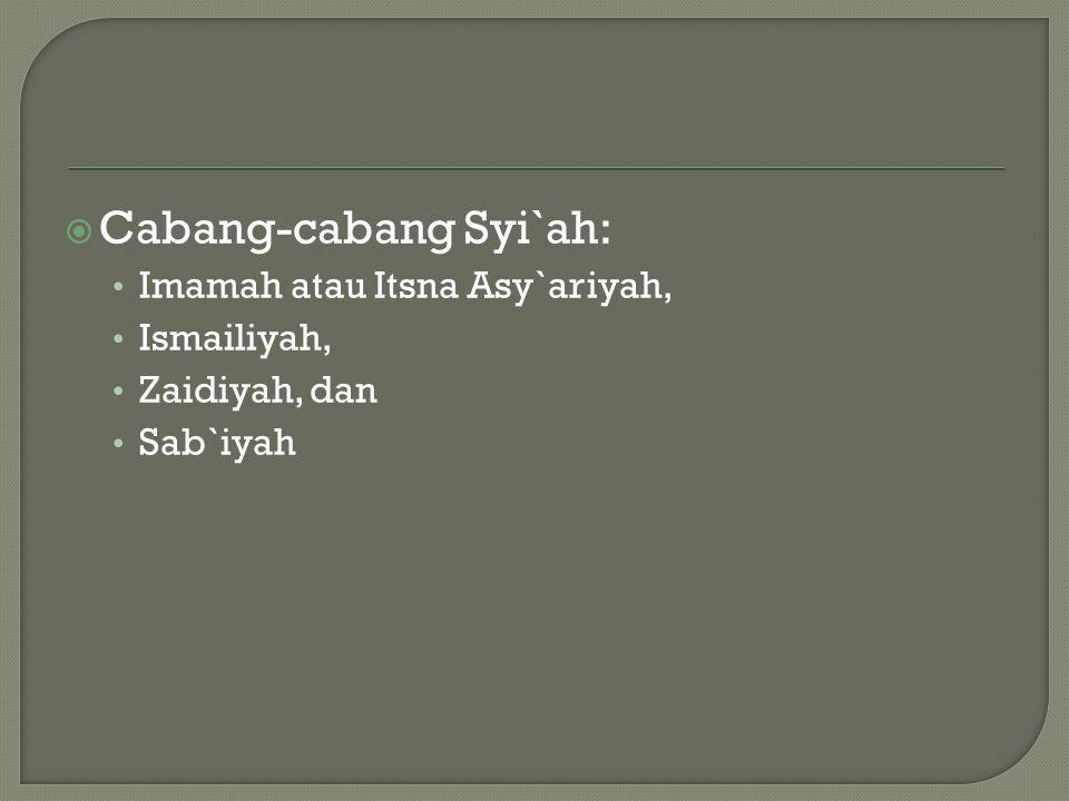 Cabang-cabang Syi`ah: