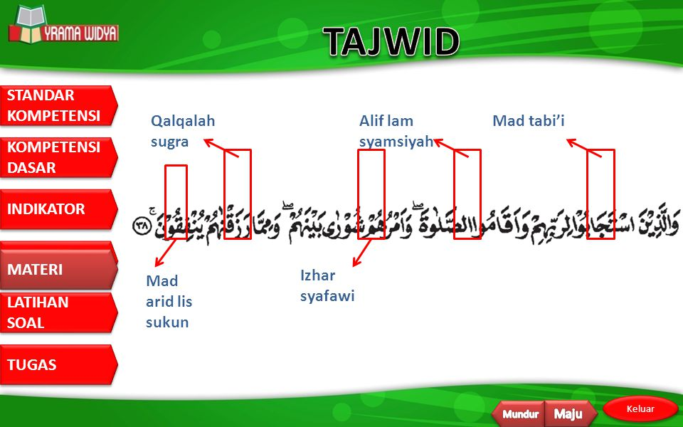 TAJWID Qalqalah sugra Alif lam syamsiyah Mad tabi'i MATERI
