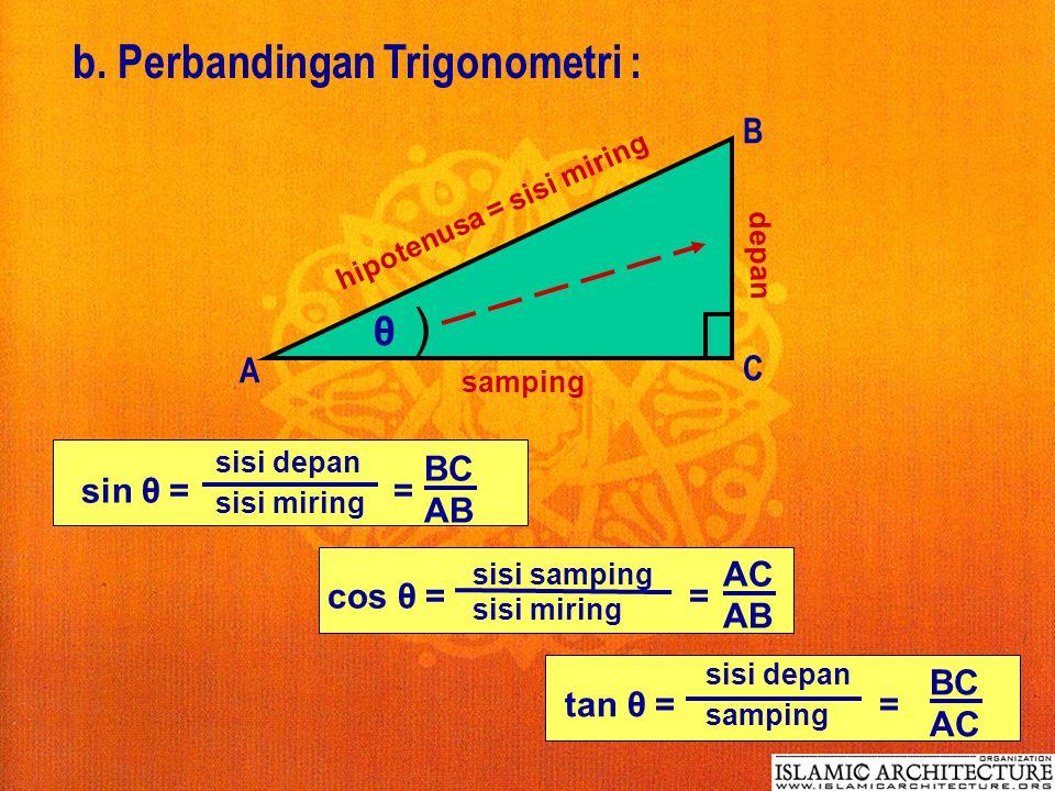 b. Perbandingan Trigonometri :