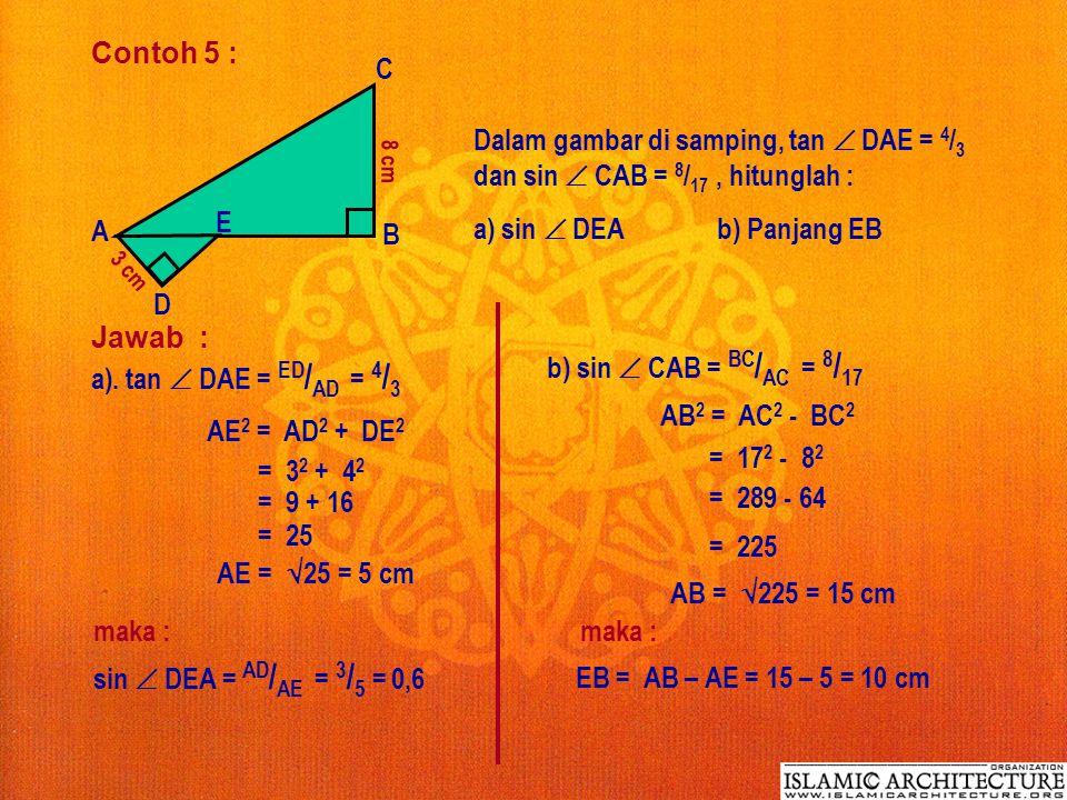 a) sin  DEA b) Panjang EB