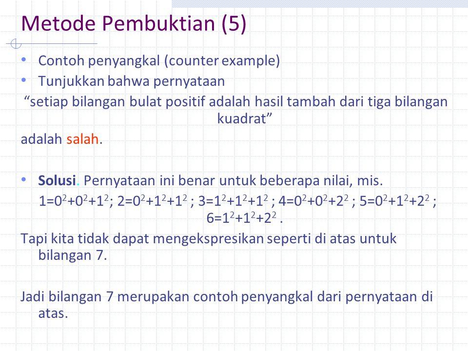 Metode Pembuktian (5) Contoh penyangkal (counter example)