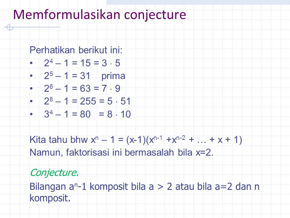 Memformulasikan conjecture