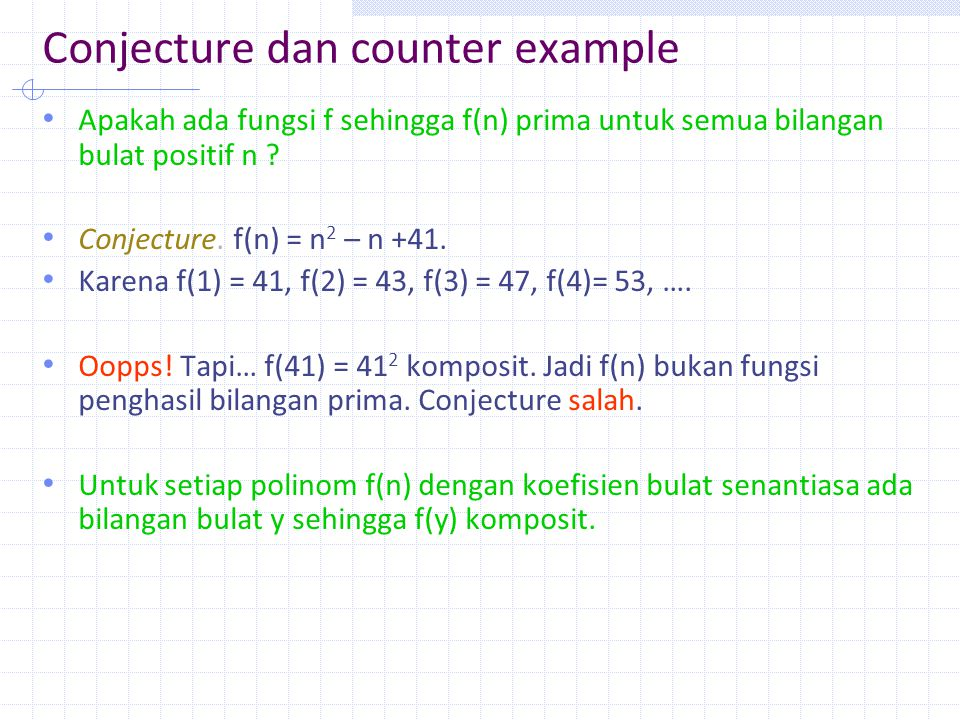 Conjecture dan counter example