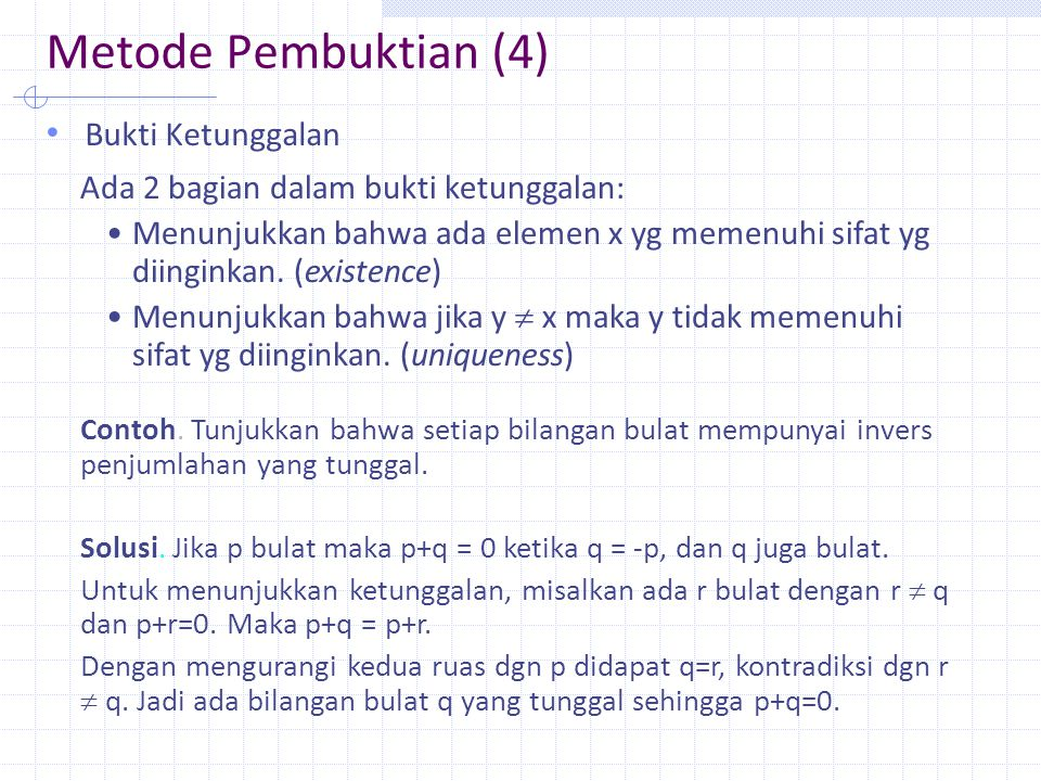 Metode Pembuktian (4) Bukti Ketunggalan