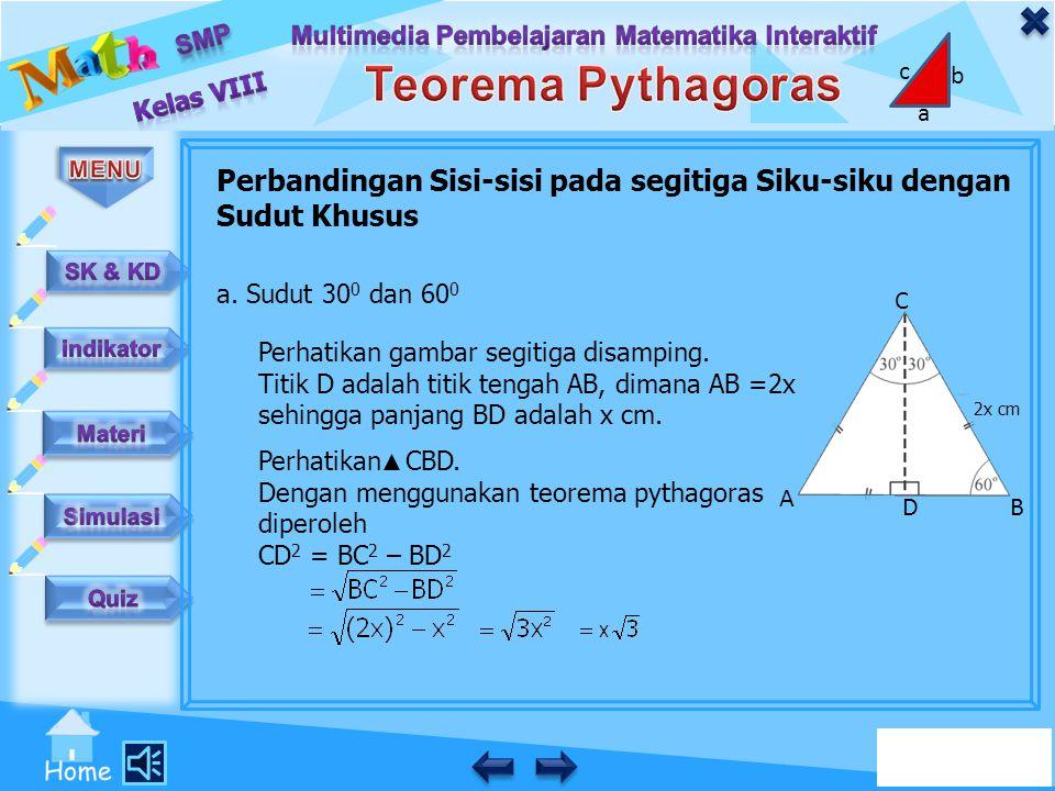 Perbandingan Sisi-sisi pada segitiga Siku-siku dengan Sudut Khusus