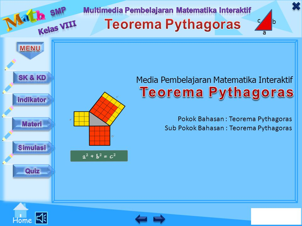 Teorema Pythagoras Media Pembelajaran Matematika Interaktif
