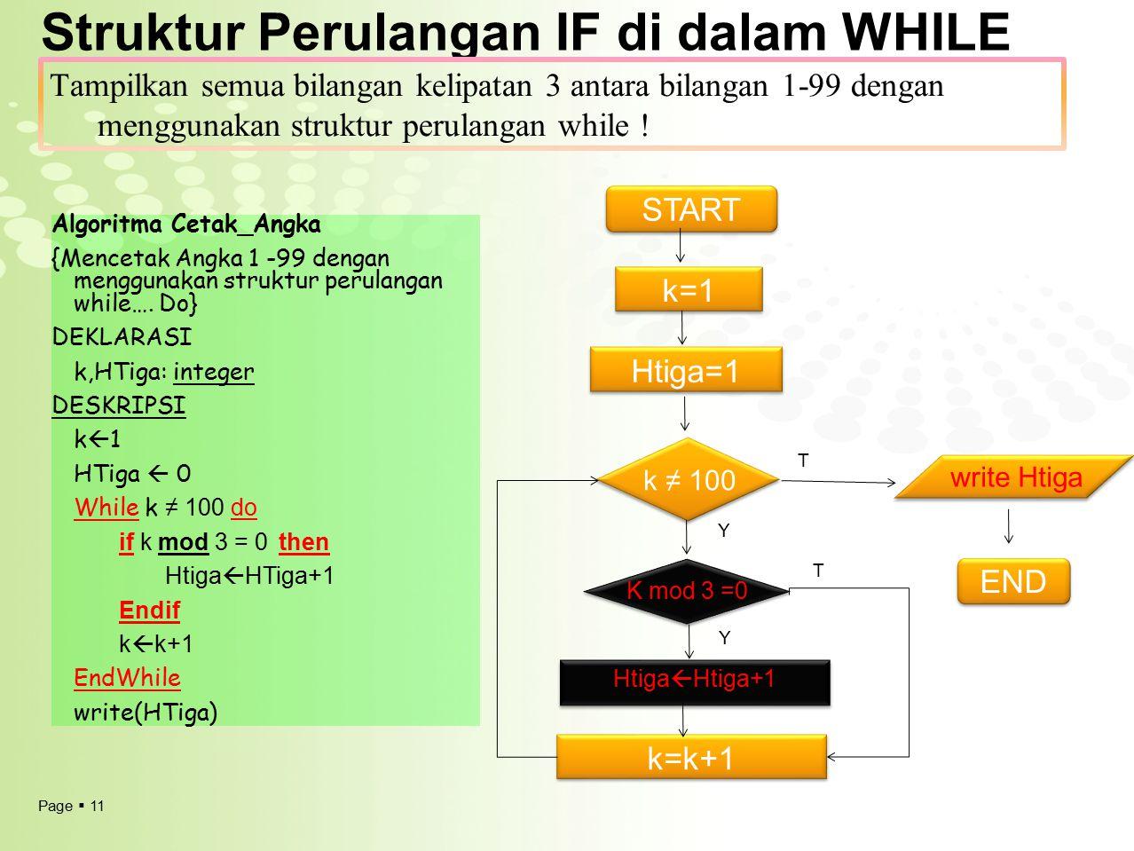 Struktur Perulangan IF di dalam WHILE