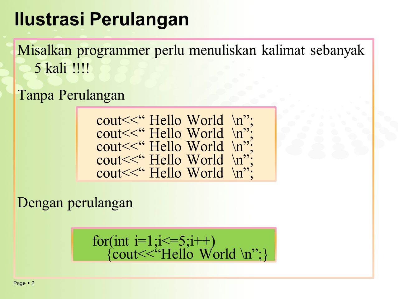 Ilustrasi Perulangan Misalkan programmer perlu menuliskan kalimat sebanyak 5 kali !!!! Tanpa Perulangan.