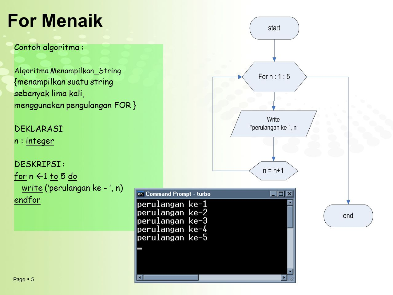 For Menaik Contoh algoritma : {menampilkan suatu string