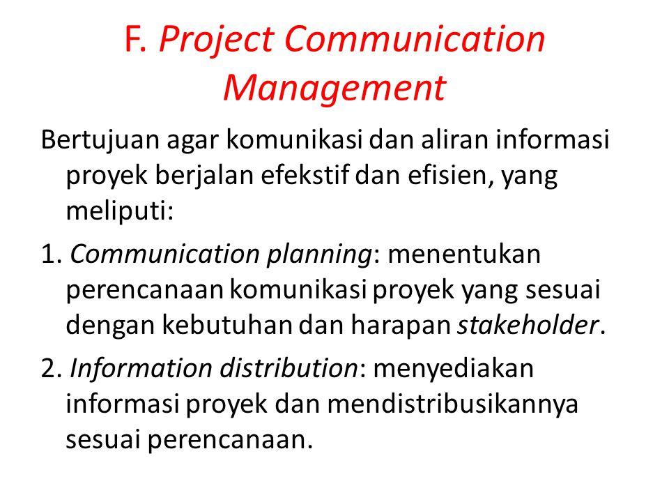 F. Project Communication Management