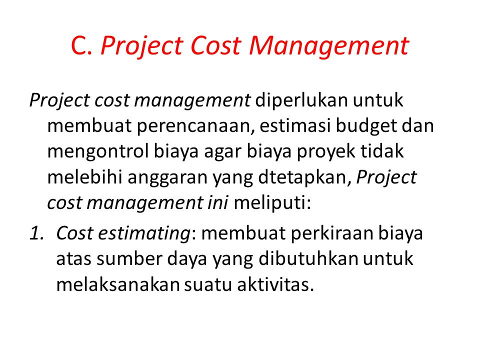 C. Project Cost Management