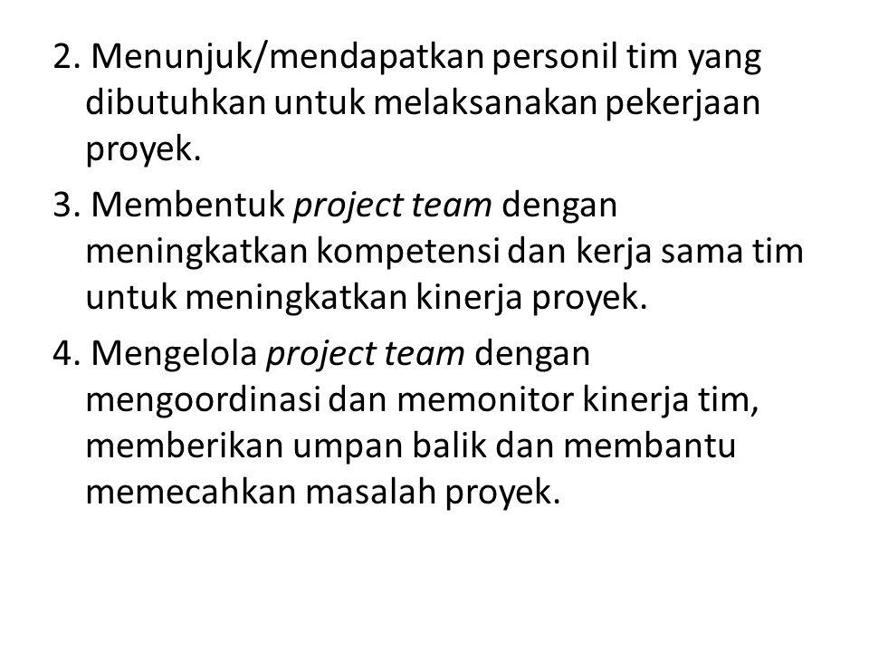 2. Menunjuk/mendapatkan personil tim yang dibutuhkan untuk melaksanakan pekerjaan proyek.