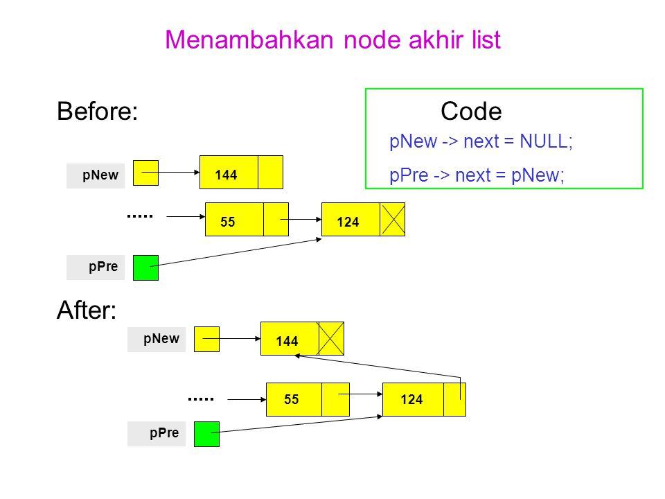 Menambahkan node akhir list