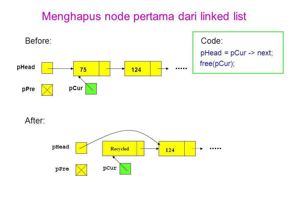 Menghapus node pertama dari linked list