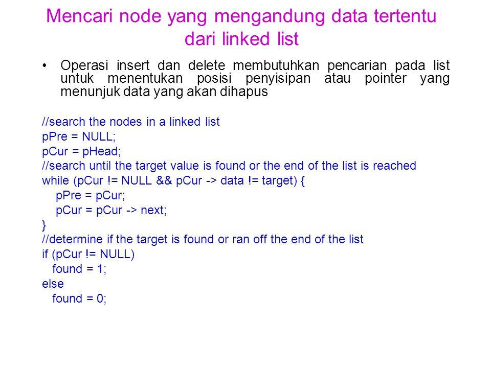 Mencari node yang mengandung data tertentu dari linked list