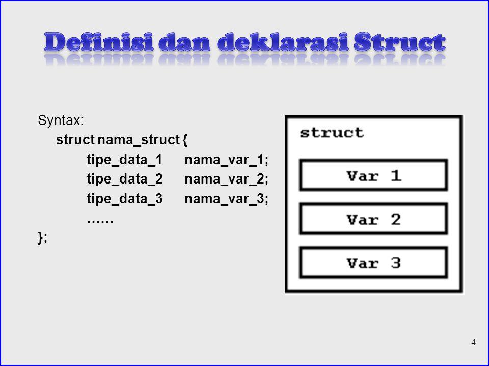 Definisi dan deklarasi Struct