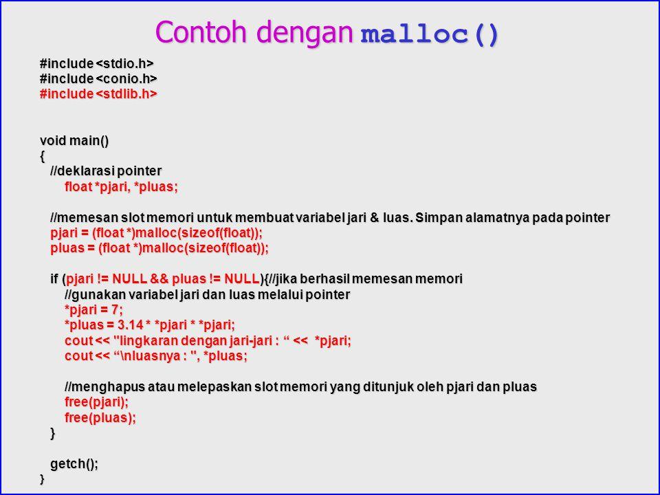 Contoh dengan malloc()
