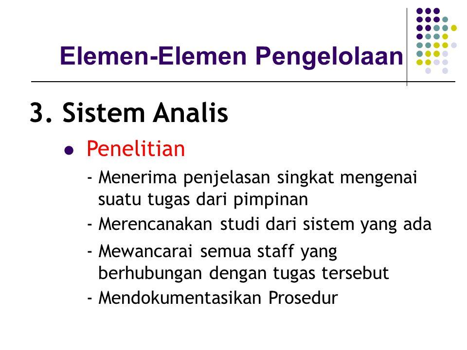 3. Sistem Analis Elemen-Elemen Pengelolaan Penelitian