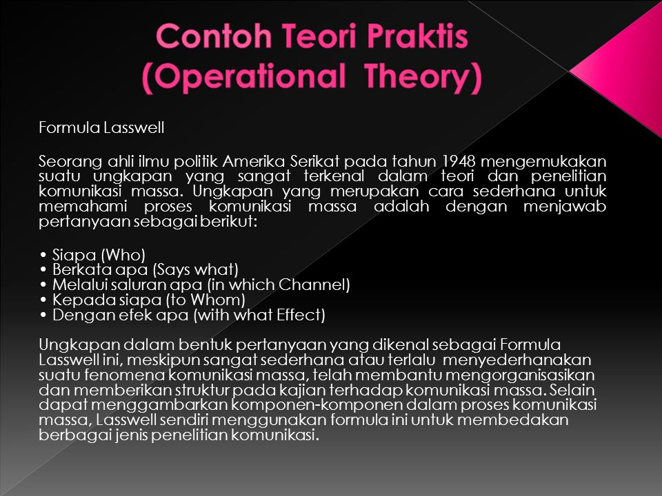 Contoh Teori Praktis (Operational Theory)