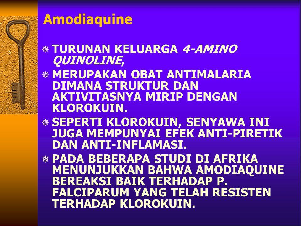 Amodiaquine TURUNAN KELUARGA 4-AMINO QUINOLINE,