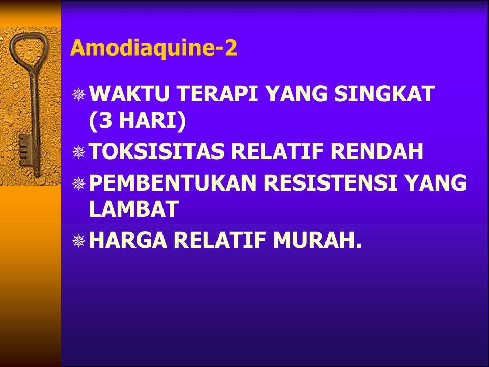 Amodiaquine-2 WAKTU TERAPI YANG SINGKAT (3 HARI) TOKSISITAS RELATIF RENDAH. PEMBENTUKAN RESISTENSI YANG LAMBAT.