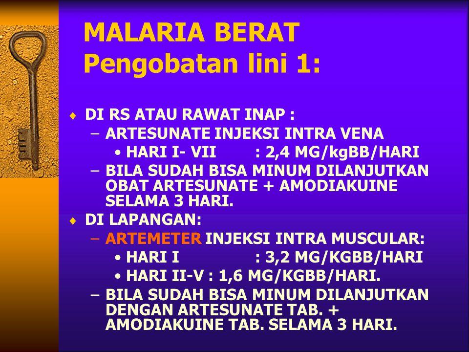 MALARIA BERAT Pengobatan lini 1: