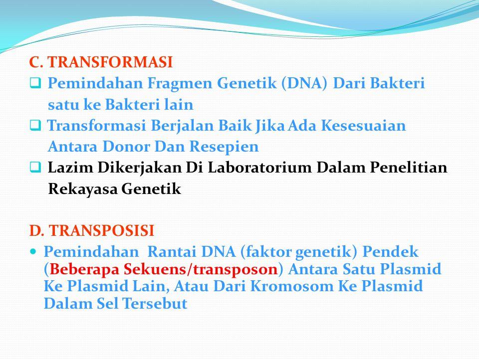 C. TRANSFORMASI Pemindahan Fragmen Genetik (DNA) Dari Bakteri. satu ke Bakteri lain. Transformasi Berjalan Baik Jika Ada Kesesuaian.