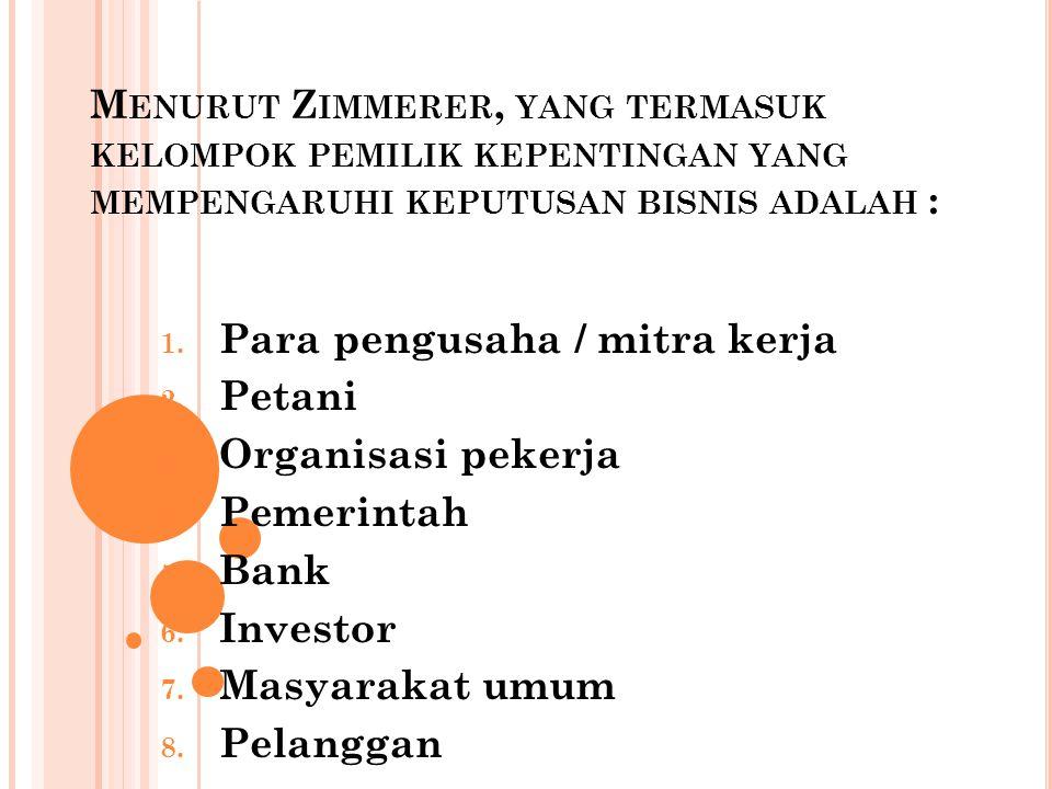 Para pengusaha / mitra kerja Petani Organisasi pekerja Pemerintah Bank