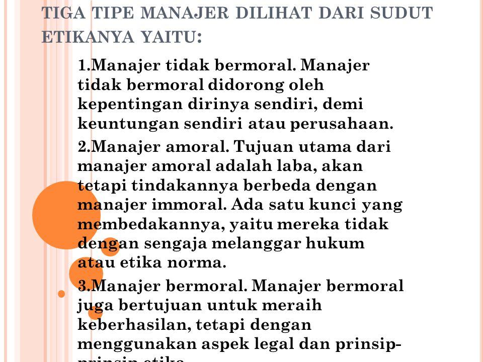 tiga tipe manajer dilihat dari sudut etikanya yaitu: