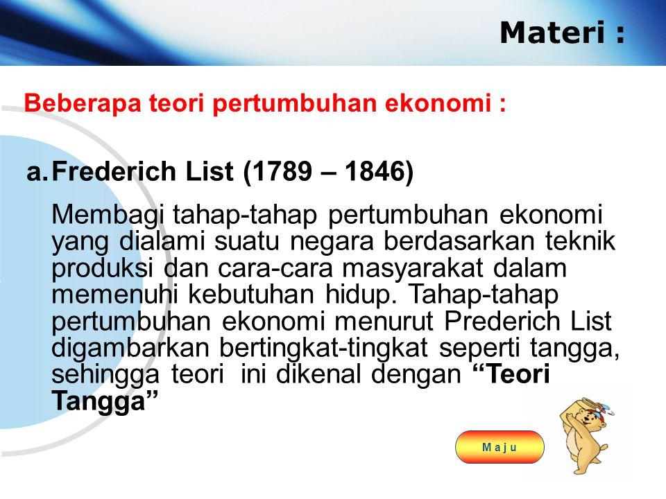Materi : Frederich List (1789 – 1846)