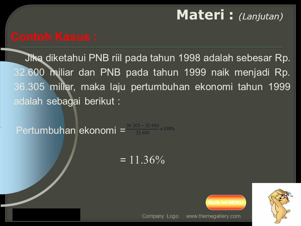 Materi : (Lanjutan) Contoh Kasus : = 11.36%