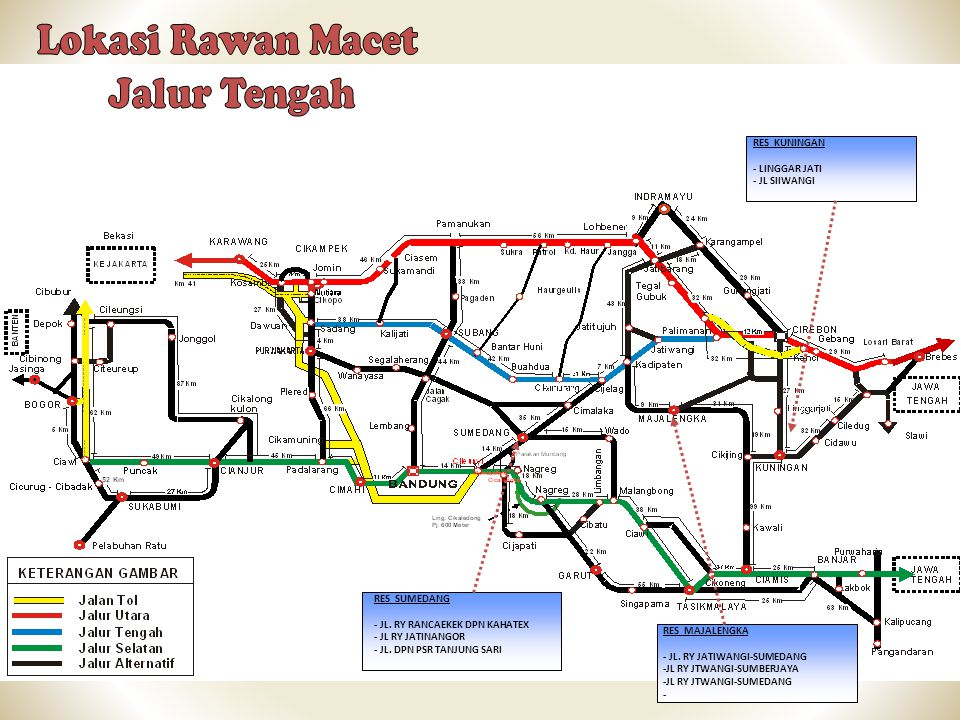 Lokasi Rawan Macet Jalur Tengah