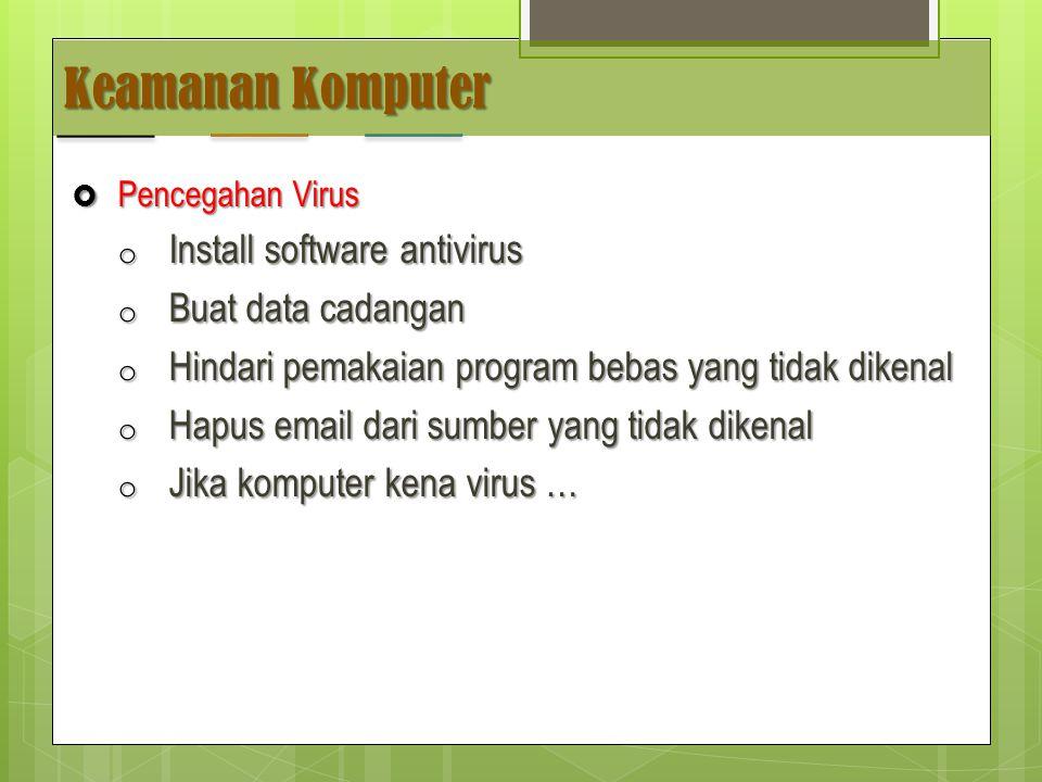 Keamanan Komputer Install software antivirus Buat data cadangan