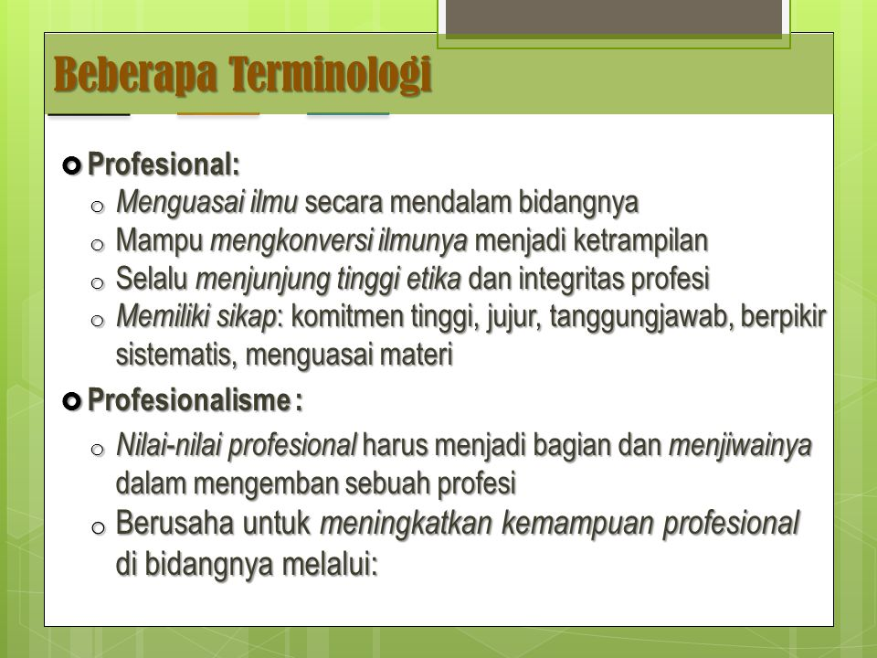 Beberapa Terminologi Profesional: Menguasai ilmu secara mendalam bidangnya. Mampu mengkonversi ilmunya menjadi ketrampilan.