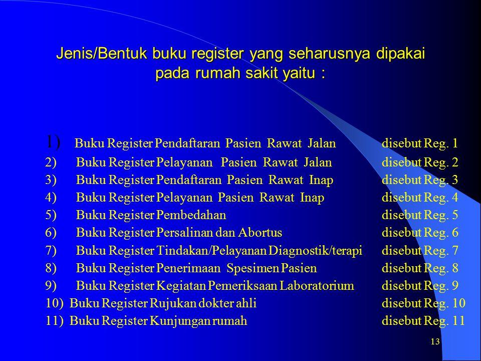 1) Buku Register Pendaftaran Pasien Rawat Jalan disebut Reg. 1